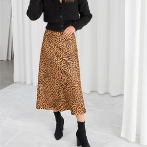 & Other Stories leopard  midi skirt
